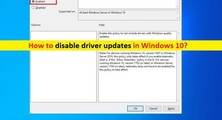 Como desativar as atualizações de driver do Windows 10